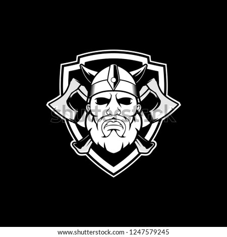 Black And White Viking Cartoon With Axe Shield Vector Logo Template