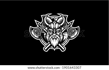 Black and white viking head with shield and axe vector emblem Foto stock ©