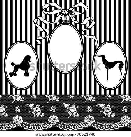 Black and white vintage frame in a modern style with lace, stripes, dog
