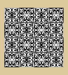 Black and white vintage pattern, fine geometric motifs, checkerboard design, inverted colors, tileable ornament, vector eps10