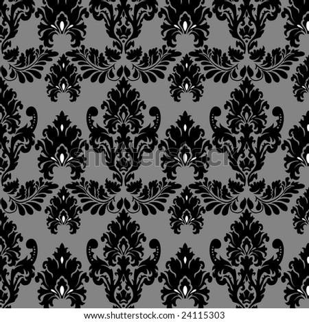 stock vector : black and white vintage Victorian wallpaper