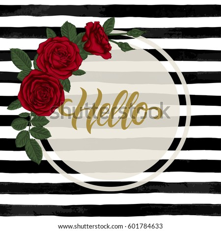 ab762fae3f408 black and white watercolor striped background with Hand drawn lettering  hello. design holiday greeting card