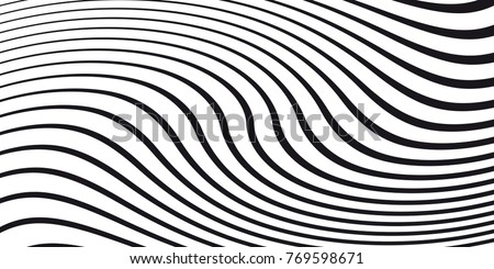 Black and white wave stripe optical abstract design. Vector background. curved lines