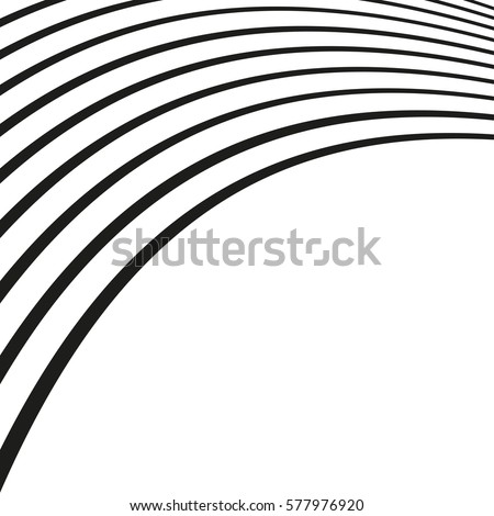 Black and white wave stripe optical abstract design. Vector background. Music curved lines