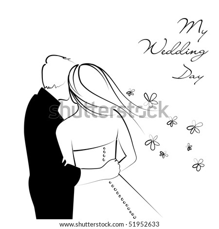 stock vector Black and White Wedding Background