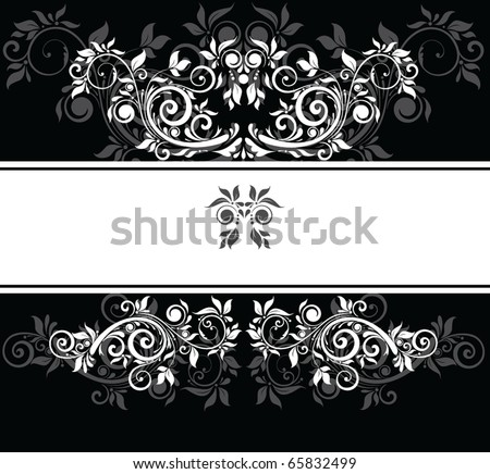 stock vector Black and white wedding template