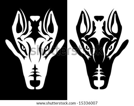 stock vector : Black and white wolf head design element