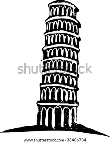 Black and White woodcut style illustration of the leaning tower of Pisa Italy.
