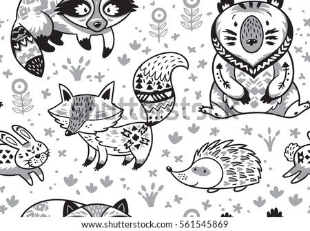 Black And White Woodland Animals Pattern In Scandinavian Style Coloring Page With Cartoon Characters