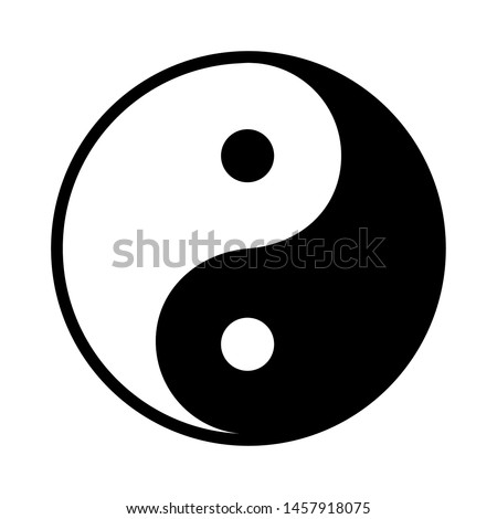 Black and white yin yang on a white background #1457918075