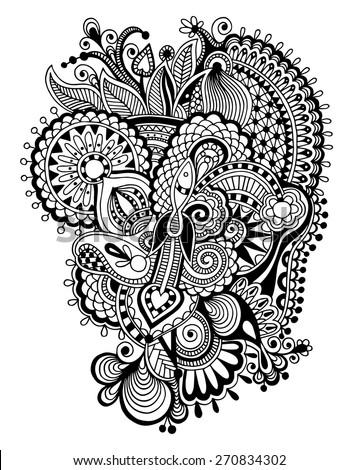 black and white zentangle line