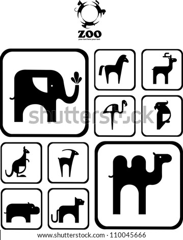 Black and white Zoo logo. logos and icons with animals. design. abstract emblem or logo