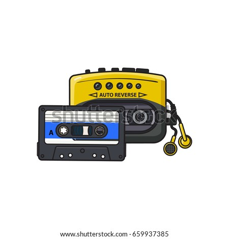 Black and yellow audio player and audiotape from 90s, sketch vector illustration isolated on white background. Front view of audio player with audio cassette and ear buds, earphones