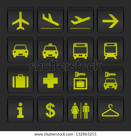Black and Yellow basic Airport signs