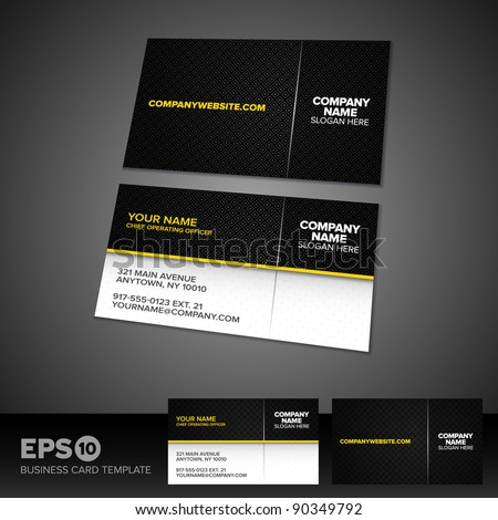 Black and yellow business card template with patterned background