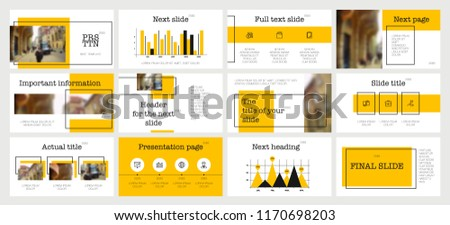 Black and Yellow elements on a white background. This template is the best as a business presentation, used in marketing and advertising, the annual report, flyer and banner 商業照片 ©