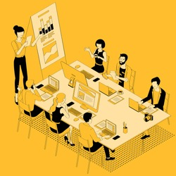 Black and yellow flat design isometric vector illustration of business communication in modern office. Trendy color template for teamwork and workflow for presentation, website and app design.