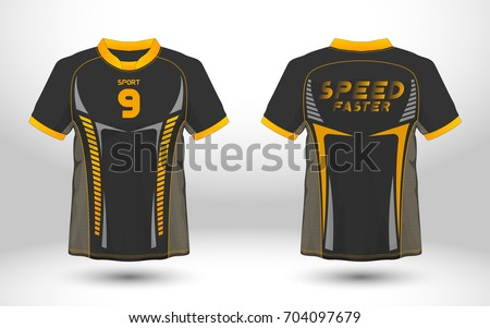 Black and yellow layout football sport t-shirt design. Template front, back view. Soccer kit national team shirt mock up. Vector Illustration.