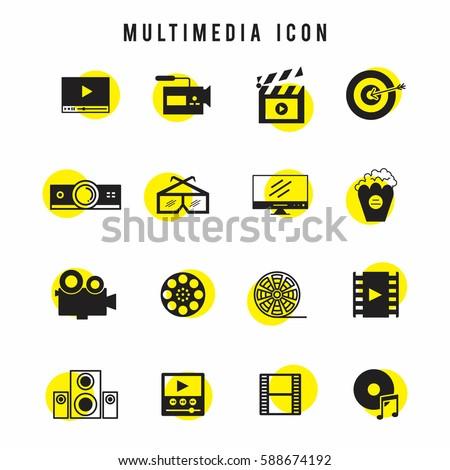 Black and yellow multimedia icon set