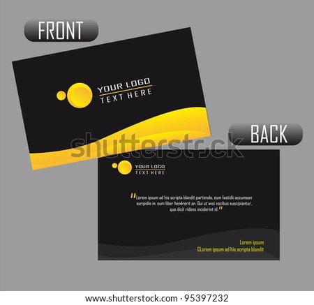 black and yellow presentation card over gray background. vector