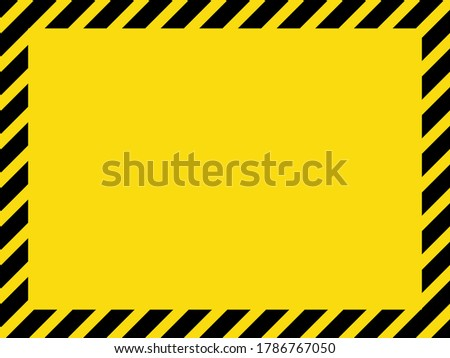 Black and yellow striped blank warning sign, rectangular frame for your message or image. EPS8 vector, variant No. 1