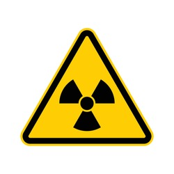Black and yellow triangle radiation warning sign
