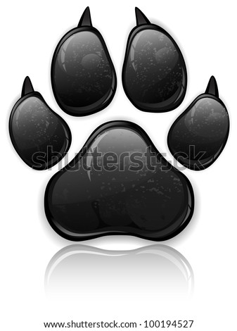 black animal paw print isolated