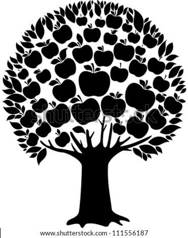 black apple tree isolated on white background vector illustration