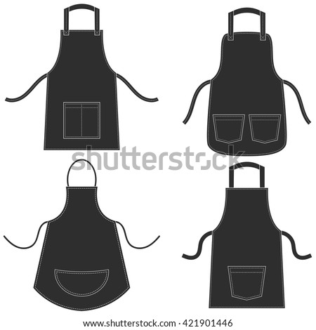 black apron set isolated on...