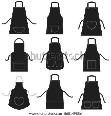 black apron set isolated on...