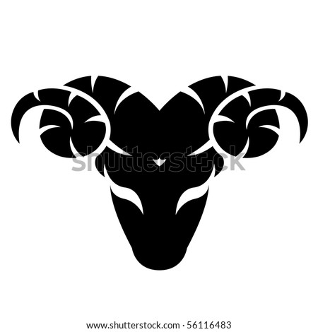 Black aries isolated on white