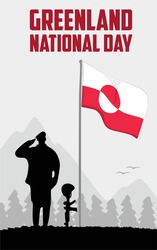 black army silhouette with greenland flag and the words Greenland National Day