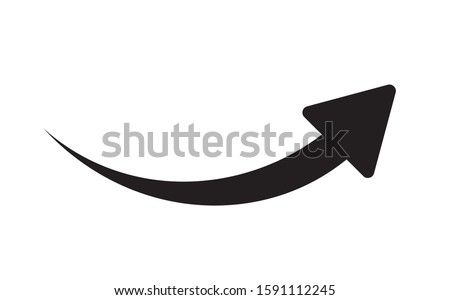Black arrow icon on white background. Flat style. arrow icon for your web site design, logo, app, UI. Arrow indicated the direction symbol. curved arrow sign. Foto stock ©