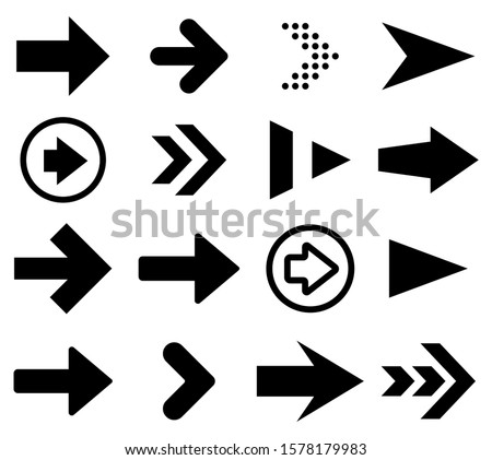 Black arrow icons set. Vector illustration