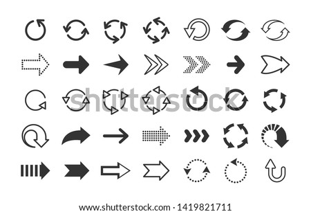 Black arrows. Circle and line direction symbols, flat pointers cursors and next page signs. Vector up down left right refresh motion arrow set #1419821711