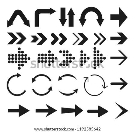 Black arrows. Set arrows icon. Vector illustration.