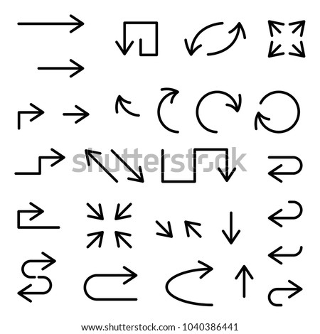 Black arrows set. Large collection of icons. Vector illustration isolated on white background