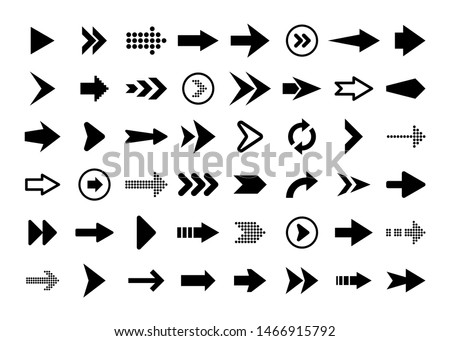 Black Arrows Set on White Background. Arrow, Cursor Icon. Vector Pointers Collection. Back, Next Web Page Sign