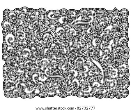 black asian floral pattern