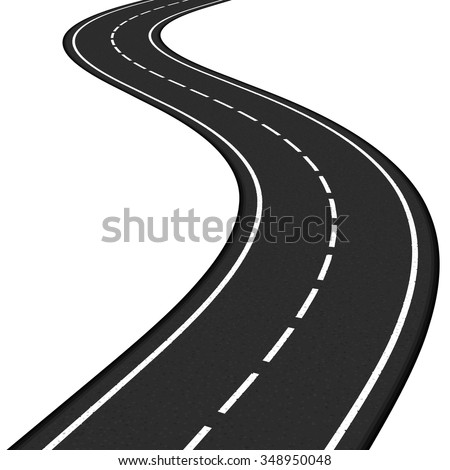 Black asphalt road on white background, vector eps10 illustration