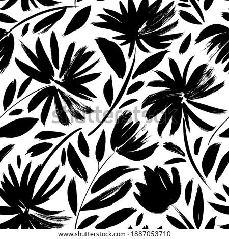 Black aster vector seamless pattern. Hand drawn silhouettes of spring chrysanthemum flowers. Dry brush style floral motives. Black paint illustration with branches and leaves. Monochrome print Foto stock ©