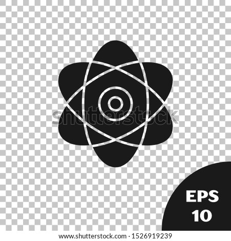 Black Atom icon isolated on transparent background. Symbol of science, education, nuclear physics, scientific research. Electrons and protons sign.  Vector Illustration