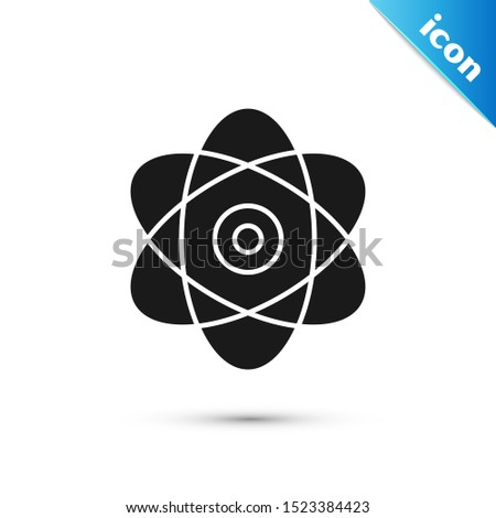 Black Atom icon isolated on white background. Symbol of science, education, nuclear physics, scientific research. Electrons and protons sign.  Vector Illustration