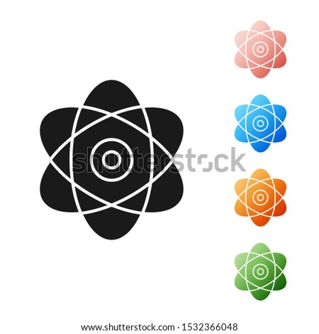 Black Atom icon isolated on white background. Symbol of science, education, nuclear physics, scientific research. Electrons and protons sign. Set icons colorful. Vector Illustration