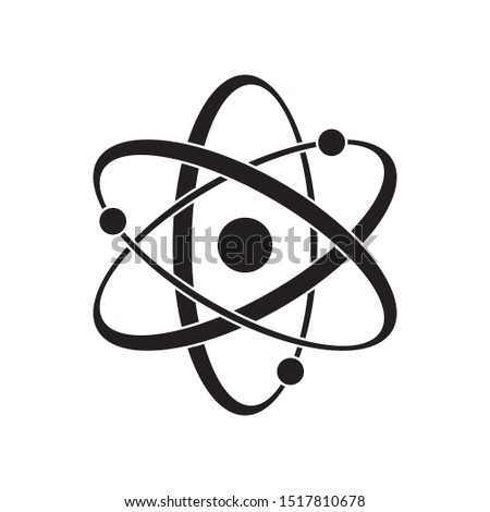 Black Atom vector icon. Symbol of science, education, nuclear physics, scientific research. Three electrons rotate in orbits around atomic nucleus. Concept of elementary particles design.
