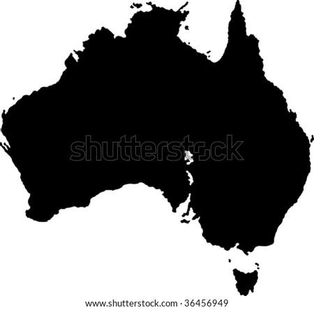 Black Australia map with region borders