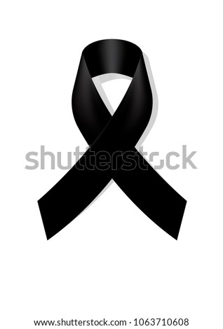 Black awareness ribbon on white background. Mourning symbol. RIP Funeral card Black Ribbon Background Vector
