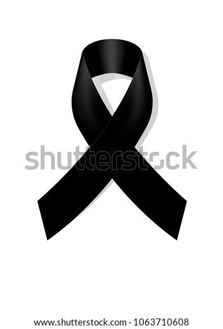 Black awareness ribbon on white background. Mourning symbol. RIP Funeral card Black Ribbon Background Vector