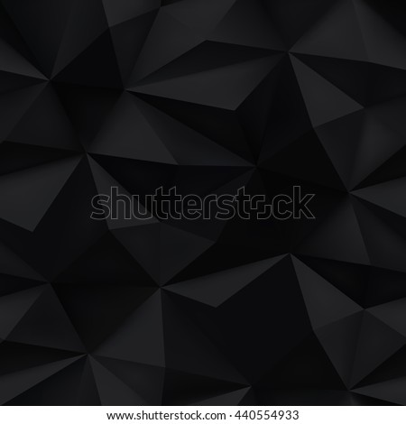 Black background. Abstract triangle black texture. Low poly black pattern illustration.