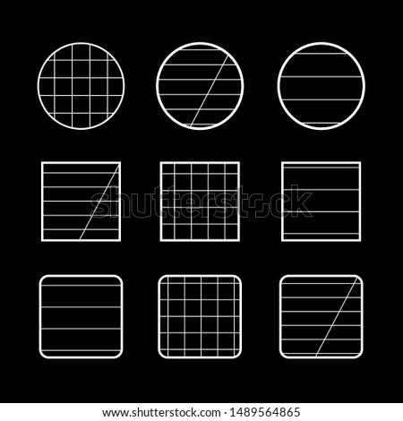 Black background full set of signs round, square and half-square for notebooks, squared or in line - vector illustration